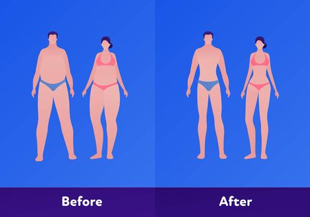 Before and after weight loss concept. Vector flat person illustration. Couple of woman and man with overweight body and normal slim figure. Design character element for banner, web, infographic.