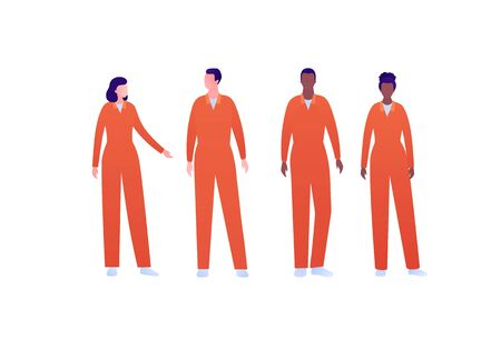 Police security character concept. Vector flat person illustration set. Group of multi-ethnic people. Arrested convict in orange jumpsuit uniform. Design element for banner, poster, infographic, web.