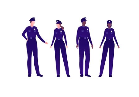 Police security character concept. Vector flat person illustration set. Group of multi-ethnic people. Policeman man and woman officer in uniform. Design element for banner, poster, infographic, web.