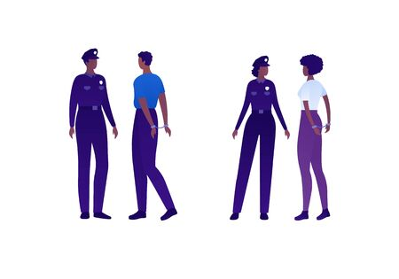 Police security character concept. Vector flat person illustration set. Group of african american people. Man and woman officer with arrested in handcuffs. Design element for banner, infographic, web.