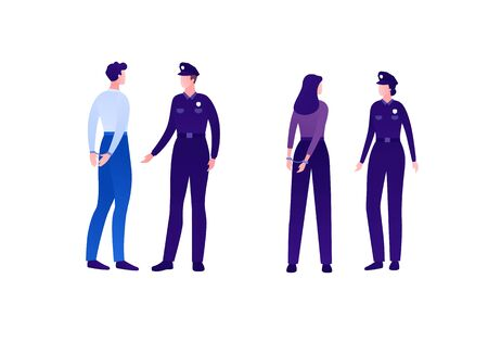 Police security character concept. Vector flat person illustration set. Group of caucasian people. Man and woman officer with arrested in handcuffs. Design element for banner, infographic, web.  イラスト・ベクター素材
