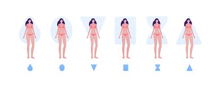 Female body type shape concept. Vector flat people illustration set. Collection of woman character in bikini underwear isolated on white. Design element for banner, inforgraphic, web.