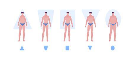 Male body type shape concept. Vector flat people illustration set. Collection of man character in swimsuit underwear isolated on white. Design element for banner, inforgraphic, web.