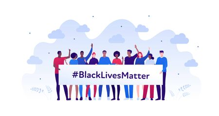 Black lives matter protest concept. Vector flat person illustration. Crowd of man and woman hold placard with text. Multi-ethnic character. Design element for banner, inforgraphic, web.