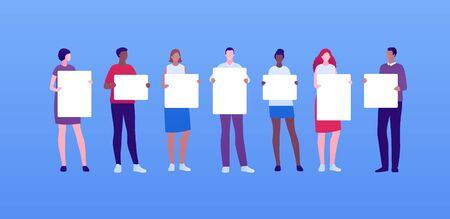 Student people protest concept. Vector flat person illustration set. Male and female adult holding blank placard. Mixed ethnic of man and woman. Design element for banner, inforgraphic, web.  イラスト・ベクター素材