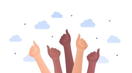Black lives matter protest concept. Vector flat illustration. Banner template. Human hands with thumbs up gesture. Multi-ethnic crowd. Design element for banner, inforgraphic, web.