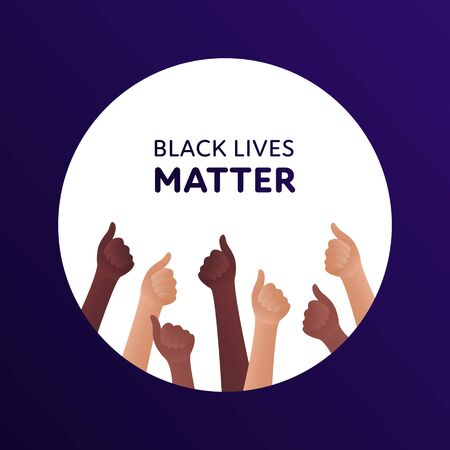 Black lives matter protest concept. Vector flat illustration. Banner template with text. Human hand with thumbs up gesture. Multi-ethnic crowd. Design element for banner, inforgraphic, web.  イラスト・ベクター素材