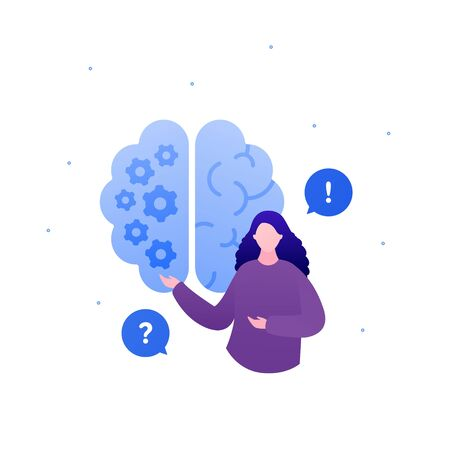Psychology, psychotherapy and psychiatry counseling concept. Vectop flat person illustration. Human brain sign. Woman psychologist with question and answer in talk bubble sign. Design for banner, web.  イラスト・ベクター素材