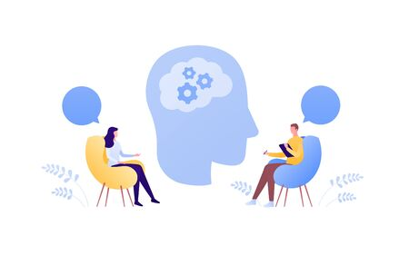 Psychology, psychotherapy and psychiatry counseling concept. Vectop flat person illustration. Human head with brain. Man psychologist and female patient. Speech bubble sign. Design element.