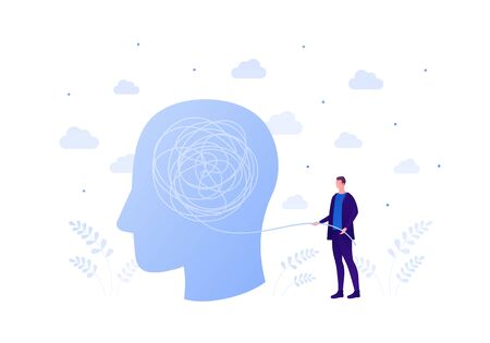 Psychology, psychotherapy and psychiatry counseling concept. Vectop flat person illustration. Patient human head with tangled thread and psychologist man. Design element for banner, web, infographic.  イラスト・ベクター素材