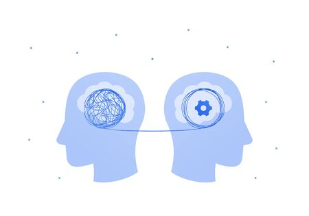 Psychology, psychotherapy and psychiatry counseling concept. Vectop flat illustration. Two human head patient with tangled thread and psychologist sign. Design element for banner, web, infographic.