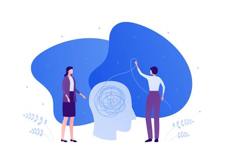 Psychology, psychotherapy and psychiatry counseling concept. Vectop flat person illustration. Human head with tangled thread. Woman doctor and female patient. Design element for banner, infographic.