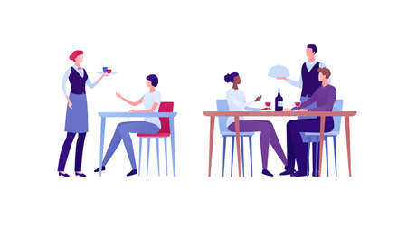 Restaraunt business concept. Vector flat person illustration set. Group of man and woman. People sit at table and order meal. Waiter hold food plate. Design element for banner, inforgraphic, menu
