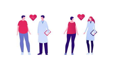 Heart disease prevention concept. Doctor and patient character set. Vector flat illustration. Group of male and female on checkup. Weightloss and nutritionist care. Design for banner, inforgraphic.