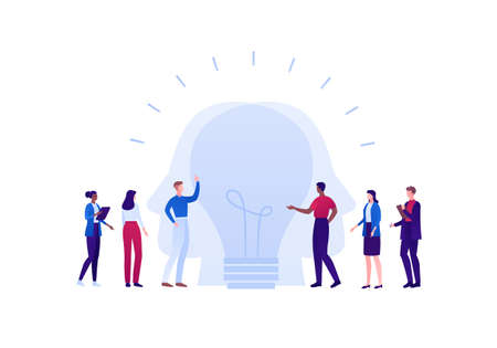 Creative business team work and brainstorm concept. Vector flat person illustration. Multiethnic group of man and woman with lightbulb idea symbol. Design element for banner, web, infographic
