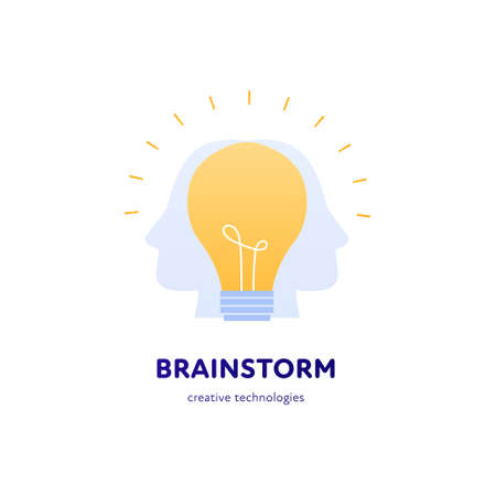 Creative business and brainstorm concept. Vector flat illustration. Square composition banner template. Human head with lightbulb idea symbol. Design for banner, logotype