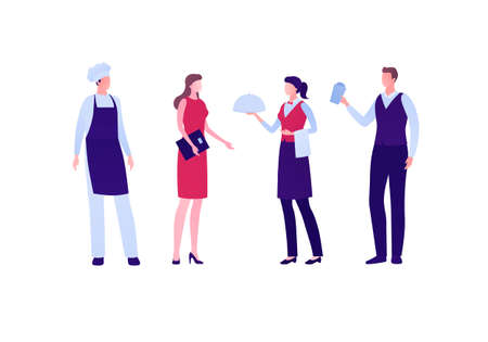 Restaraunt business staff concept. Vector flat person illustration set. Group of man and woman team employee. Chef, hostess, waiter, waitress character. Design element for banner, inforgraphic, menu