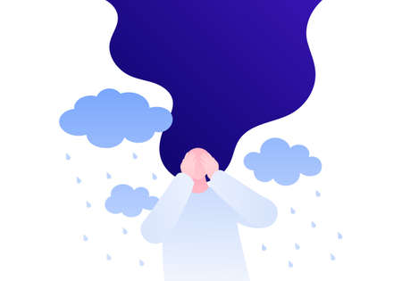 Psychology, psychotherapy and mental health concept. Vector flat person illustration. Woman patient with hands over face. Depression and sad emotinons rain sign. Design for banner template, web, ads.