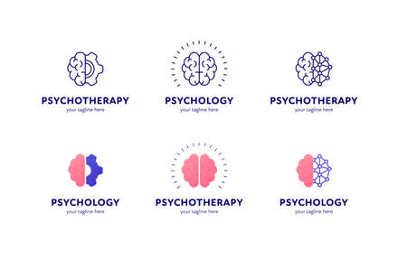 Psychology, psychotherapy and mental health care concept. Vector flat illustration set. Collection of  template. Brain sign with gear wheel and dotted nerwork symbol. Design for web, logotype.