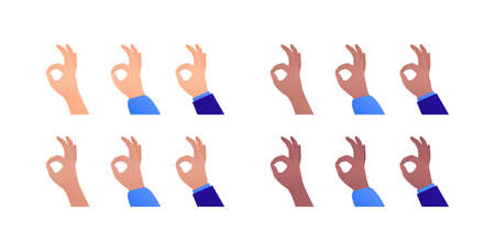 Ok hand sign. Vector flat illustration set. Collection of multi-ethnic okey fingers gesture. Caucasian, asian, hispanic and african american. Suit and shirt. Design element for business banner, web.