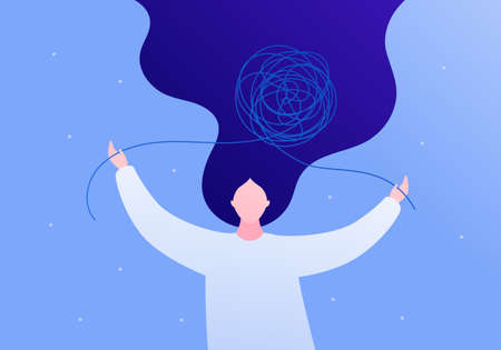 Psychology, psychotherapy and mental health care concept. Vector flat person illustration. Woman patient untangle tangled thread. Design for square banner template, web, ads. Çizim
