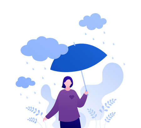 Psychology, emotion and season weather concept. Vector flat people illustration. Woman character with umbrella standing alone under rain with heart shape. Design for mental health banner, web.