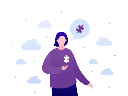 Psychology, emotion and psychotherapy patient concept. Vector flat person illustration. Female character with jigsaw puzzle piece in heart place. Design for mental health banner, web.