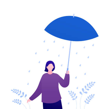 Psychology, emotion and season weather concept. Vector flat person illustration. Female character with umbrella standing alone under rain. Psychotherapy patient. Design for mental health banner, web. Çizim