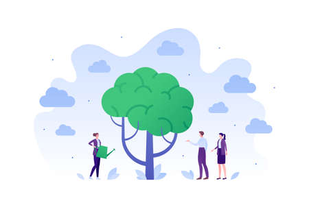 Psychology, emotion and psychotherapy concept. Vector flat person illustration. Mental health treatment session metaphore. Woman psychologist with watering can water brain tree. Design for banner, web Çizim
