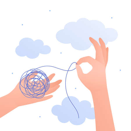 Psychology, emotion and psychotherapy concept. Vector flat illustration. Mental health treatment metaphore. Human hand untangle tangeled thread. Design for banner, web.