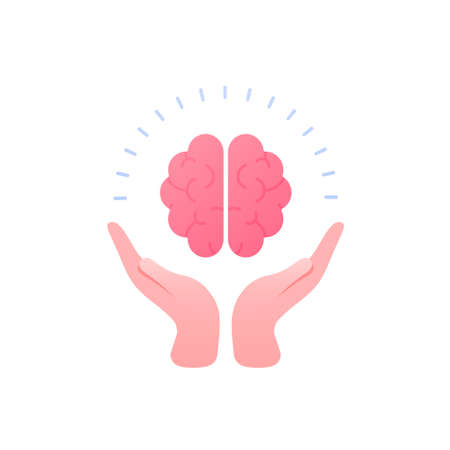 Psychology, emotion and psychotherapy concept. Vector flat illustration. Mental health treatment metaphore. Human hand hold human brain.