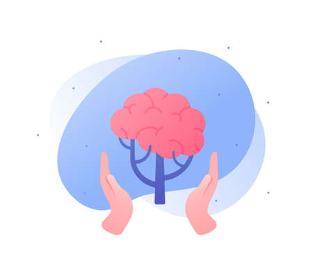 Psychology, emotion and psychotherapy concept. Vector flat illustration. Mental health treatment metaphore. Human hand hold human tree with brain symbol.