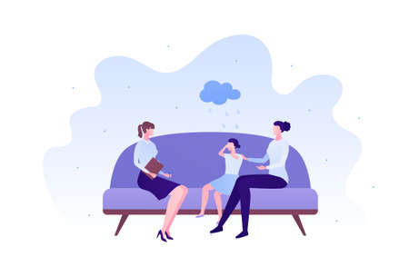 Psychology, emotion and family child psychotherapy concept. Vector flat person illustration. Woman therapist and mother with girl sitting on sofa. Sad and anger emotions symbol. Design for banner, web
