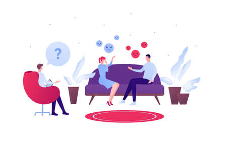 Psychology, emotion and family couple psychotherapy concept. Vector flat person illustration. Psychologist character and couple arguing at couch. Sad and anger emotions symbol. Design for banner, web
