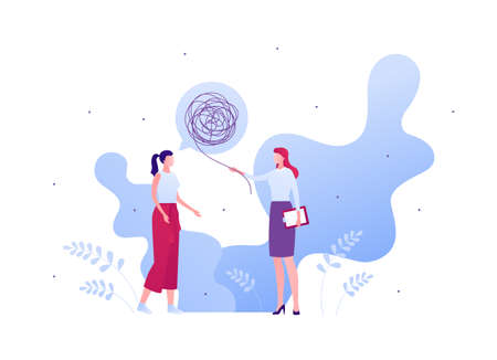 Psychology, emotion and psychotherapy concept. Vector flat person illustration. Woman patient character with tangled thread talk bubble and female psychologist standing. Design for banner, web.