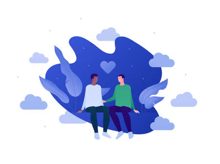 Love relationship and lgbt romantic date concept. Flat person illustration set. Multiethnic characters. Cute male couple sitting. Heart shape sign.