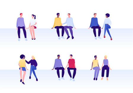Love relationship, lgbt romantic date and friendship concept. Flat person illustration set. Multiethnic characters. Different couples of man and woman sitting. Çizim