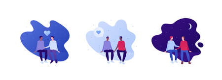 Love relationship and lgbt romantic date concept. Flat person illustration set. Multiethnic characters. Cute male couple sitting. Heart symbol.