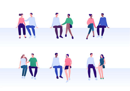 Love relationship, romantic date and friendship concept. Flat person illustration set. Multiethnic character. Female and male couples sitting.