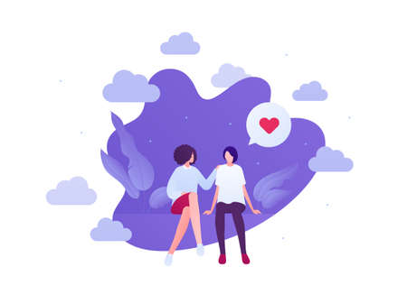 Love relationship and lgbt romantic date concept. Flat people illustration. Multiethnic characters. Lesbian female couple sitting. Heart shape sign.
