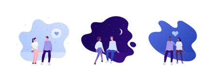 Love relationship and romantic date concept. Vector flat person illustration set. Multiethnic characters. Couple of man and woman sitting. Heart symbol. Design for banner, valentine day card. Çizim