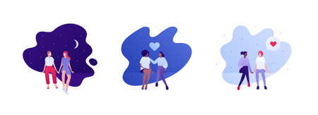 Love relationship and lgbt romantic date concept. Flat person illustration set. Multiethnic characters. Lesbian female couple sitting. Heart symbol. Çizim