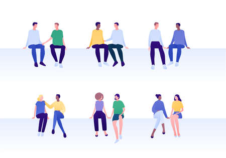 Love relationship, lgbt romantic date and friendship concept. Flat people illustration set. Mixed ethnic characters. Different couples of man and woman sitting. Çizim