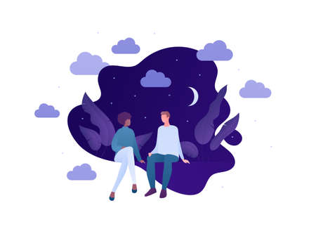 Love relationship and romantic date concept. Vector flat person illustration. Different ethnic character. Couple of man and woman sitting on night backgroud. Design for banner, valentine day card.