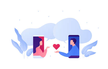 Dating online app and relatioship concept. Vector flat person illustration. Man holding and give heart shape as match symbol to woman on phone screen. Love emotion. Design element for banner, web.