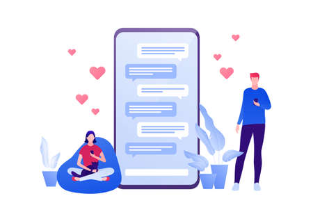 Dating online app and relatioship concept. Vector flat person illustration. Man with smartphone and woman sitting with cat chat on phone screen. Like heart symbol. Design element for banner, web.