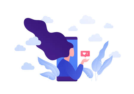 Dating online app, relatioship and blogger concept. Vector flat person illustration. Woman on phone screen holding heart shape like symbol. Love emotion. Design element for banner, web.