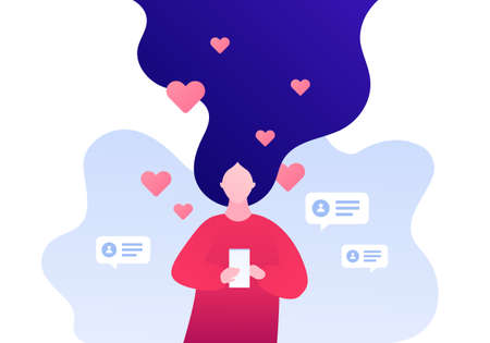 Dating online app, relatioship and blogger concept. Vector flat person illustration. Woman holding smart phone. Heart shape like symbol and profile sign. Love emotion. Design element for banner, web.