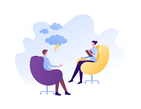 Psychology, emotion and psychotherapy concept. Vector flat person illustration. Woman therapist counseling male patient sitting on chair. Anger and depression symbol. Design for banner, web