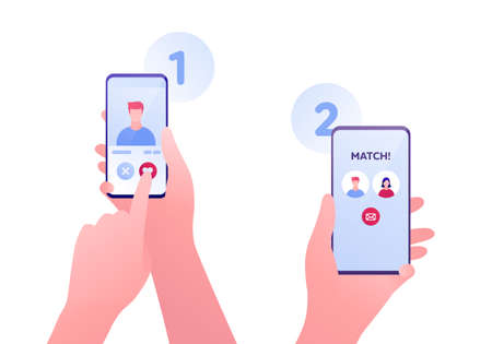 Dating online app and relatioship concept. Vector flat person illustration. Human hand holding smartphone and touch heart shape symbol. Man and woman avatar with match text. Design for banner, web.